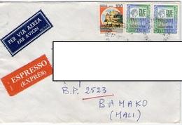 Italia Italy 4100 LIRE TARIFFA LETTERA ESPRESSO 20 Gr ESTERO POSTA AEREA MALI AFRICA 27.3.1991 PISA BAMAKO ALTI VALORI - 1991-00: Storia Postale