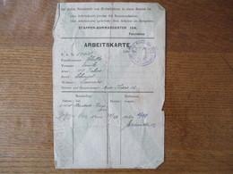 ETAPPEN-KOMMANDANTUR 154. FOURMIES ARBEITSKARTE DATUM 1.10.18 - Documents