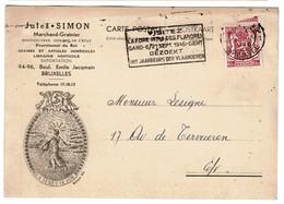 Carte Facture - 1946 - Jules SIMON - Marchand-Grainier 94-96 Boulevard Emile Jacqmain Bruxelles - 2 Scans - Belgique