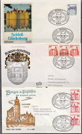 Germany Castles Stamps On 21 FDCs, Complete! - Castles