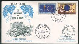 1964 Turchia, 15° Anniversario Consiglio D'Europa, F.D.C. Non Viaggiata - 1921-... República