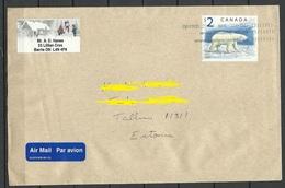 CANADA Kanada 2008 Air Mail Cover To Estonia Michel 1726 Polar Bear (1998) As Single Franking - Covers & Documents