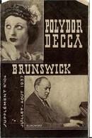 POLYDOR DECCA   JUILLET   1937 .( Format 17,7 X 11, 5 ) - Musique