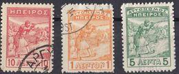 EPIRO - 1914 - Lotto Di 3 Valori Usati: Yvert 5, 7 E 8, Come Da Immagine. - North Epirus