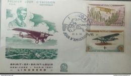 RO) 1964 MONACO, SPIRIT OF ST LOUIS FIRST CROSSING OF ATLANTIC NEW YORK PARIS CHARLES LINDBERGH 1927 50c - LATE 28 HYDRO - FDC
