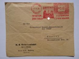 1934 DR Dienstbrief Berlin Reichstag N.S. Volkswohlfahrt Reichsführung An Kassel-Messerschmidt Freistempel Opfert! WHW - Briefe U. Dokumente