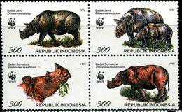 ID0547 Indonesia 1996 Protect Rhino 4 Full WWF 4V - Indonesië