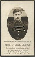 Joseph Lebrun  :guerre - Oorlog 40-45 : Haut-le-Wastia 1921 -  Bioul 1941   (zie Scans Voor Detail) - Devotieprenten