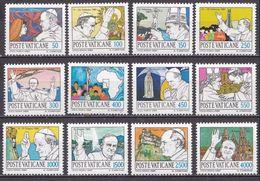 VATICAN CITY 1984 Pope Johan Paul II Travelling Around The World Complete MNH Set Mi. 852 / 863 - Ongebruikt