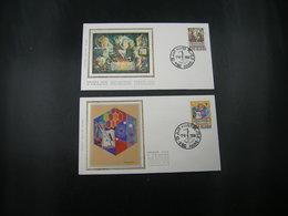 """BELG.1988 2296 & 2297 FDC's (Hamme) Soie/zijde  : """"  Koninklijke Academie / L'Académie Royale """" - 1981-90"""
