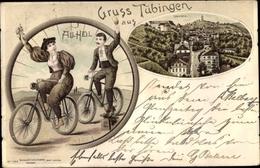 Lithographie Tübingen Am Neckar, Blick Auf Den Ort, All Heil, Radfahrer - Deutschland