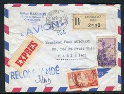 Maroc - Enveloppe En Recommandé Exprès De Casablanca Pour La France En 1957 - Réf AT 217 - Maroc (1956-...)