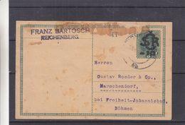 Tchècoslovaquie - Carte Postale De 1919 - Entiers Postaux - Oblit Reichenbach - Exp Vers Marschendorf - Covers & Documents