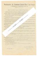 Proclamation Du Général PIRE à Ses Troupes , Démobilisation De L'AS En 1944 - Résistance - Guerre 40/45 + Verso (b254) - Documents Historiques