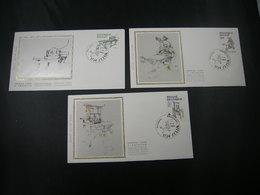 """BELG.1988 2309 2310 & 2311 FDC's Zijde-soie (Zellik) : """" Imprimerie, Anciennes Presses De Musée/Boekdrukkunst """" - 1981-90"""
