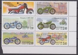 Russia 09.09.1999 Mi # 744-48 Sechserblock, Russian Motobikes History MNH OG - Nuevos