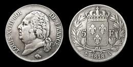 COPIE - 1 Pièce Plaquée ARGENT ( SILVER Plated Coin ) - France - Louis XVIII 5 Francs 1818 A - J. 5 Francs