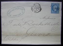 Le Creusot 1864 Schneider & Cie Houillères Forges Fonderies Lettre Pour Givors - Postmark Collection (Covers)