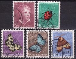 Switzerland / Schweiz / Suisse : 1952 Pro Juventute : Albert Anker / Insekten Gestempelter Satz Michel 575 / 579 - Gebraucht