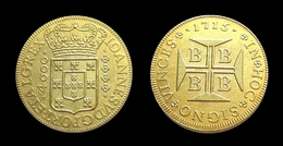 COPIE - 1 Pièce Plaquée OR ( GOLD Plated Coin ) -  Brésil Brazil 4000 Reis 1715 - Brésil