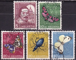 Switzerland / Schweiz / Suisse : 1956 Pro Juventute : Insekten / Schmetterlinge Gestempelter Satz  Michel 632 / 636 - Gebraucht