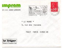 RELIGION CATHOLIQUE = 22 LANNION 1973 = FLAMME SECAP Illustrée  'COTE GRANIT ROSE + ACTIVITES ELECTRONIQUES ' - Postmark Collection (Covers)