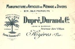"""DUPRE-DURAND  Manufacture Articles De Ménage """"Alu-Rex""""   HYERES - Lettres De Change"""