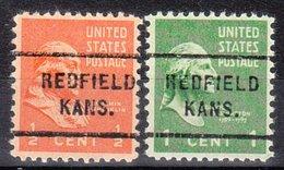 USA Precancel Vorausentwertung Preo, Locals Kansas, Redfield 712, 2 Diff. - Vereinigte Staaten