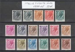 "FR.NU.0101 - REPUBBLICA 1955 - ""ITALIA TURRITA (stelle)""  Serie Di 17 V. Nuovi** - 1946-60: Mint/hinged"