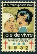 """Tuberculose Antituberculeux - Grand Timbre De 1932  """"25 Fr Pour La Santé"""" - Avec Pochette Neutre. - Erinnofilia"""