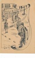 Lot 2 CPA  - Belles Illustrations ( Artiste à Identifier) Scènes De Rue En 1830 Et 1947 -Sans Frais Acheteur - Postales