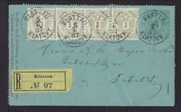 1887 - 3 Kr. Ganzsache Mit 4x 3 Kr. Zufrankiert Als Einschreiben Ab Klattau Nach Bezdekau - 1850-1918 Empire