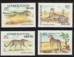 2007Uzbekistan754-57Cats6,50 € - Big Cats (cats Of Prey)
