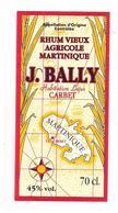 Etiquette Rhum Vieux  Agricole - J.Bally - 45% - 70cl. -Habitation Lajus, Carbet - MARTINIQUE - - Rum