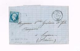 """Lettre De Thonon à Lyon.""""Montcenis à Mâcon"""" - 1862 Napoleon III"""