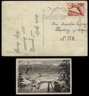3. Reich - DR Postkarte Olypiade Skischanze Skispringer Garmisch Partenkirchen: Gebraucht Mit Olympiade Werbestempel G - Briefe U. Dokumente
