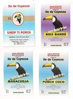 """4 Etiquettes """"Ile De Cayenne""""  Sirop Ti Punch, Bois Bandé, Punch Coco, Maracudja - 35cl - 6,5 X 9 Cm - GUYANE - - Rhum"""