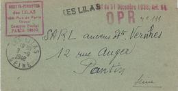 """1948- Avis Du Percepteur En Franchise  De LES LILAS  En """" O P R  / Loi Du 31 Décembre 1935, Art. 54 """" - Marcophilie (Lettres)"""
