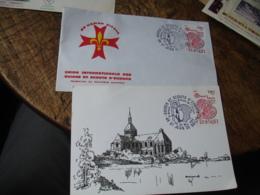 Lot De 2 Scouts Scoutisme  Saint Benoit Patron Saint Jean De Braye Obliteration Sur Lettre - Storia Postale