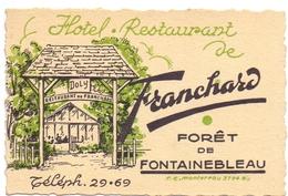 Pub Reclame - Kaart Carte Hotel Restaurant De Franchard - Foret De Fontainebleau - Publicités