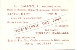 Pub Reclame - Kaart Carte Hotel Restaurant - Hostellerie Des Pins - Belin Gironde - Prop. C. Sarret - Publicités