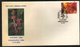 India  2004  Coffee Plant  Coffee Beans  Madikeri  Special Cover  # 21186   D Inde Indien - Medicinal Plants
