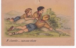 Scoutisme -  Illustrateur J. IDRAC -  A L'Affût... Sur Une Piste - Etat - Scoutisme