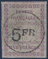 France Colonies Madagascar N°13 5FR Violet Et Noir Oblitéré RR (tirage 1000) Signé Roumet - Oblitérés