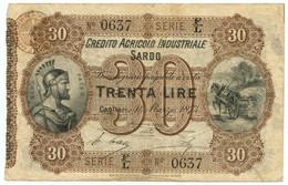30 LIRE CREDITO AGRICOLO INDUSTRIALE SARDO 01/03/1874 BB/BB+ - Altri