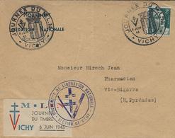 8 Juin 1945- Enveloppe Avec Vignette  M.L.N  / Journée Du Timbre  / 6 Juin 1945 - Marcophilie (Lettres)