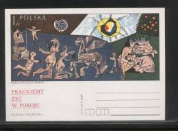 POLAND PC 1978 ANTI NEUTRON BOMB CAMPAIGN MINT PICASSO PAINTING PEACE ART PEGASUS - Enteros Postales