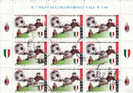 2004 Varietà Non Catalogata, Milan Campione D'Italia 2003, Porzione Di Foglietto, Viaggiato, 9 Francobolli Con Appendici - 6. 1946-.. Repubblica