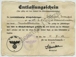 Guerre De 1939-45 . Occupation . Laissez-passer Alsace-Lorraine 1940 . Ouvrier Métallurgiste Natif D'Abreschviller . - Documenti