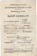 VP15.477 - MILITARIA - BOULOGNE 1917 - Gouvernement Militaire De Paris - Le Commissaire De Police - Sauf - Conduit - Police & Gendarmerie